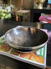 "Real Horn Bowl Silver Rim 6"" Decor Shave Bowl Dish"