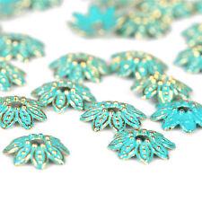 10pcs Alloy Retro Verdigris Patina Petal Bead End Cap Charm DIY Bracelet Jewelry