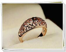 Vintage Retro 18K Rose Gold Plated Ring Flower Delicate Cut Away Size M N O P R