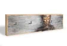Holz Schlüsselbrett Thailand Buddha + 5 Haken grau
