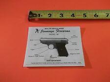 Jennings Firearms Model 38 Pistol tri-fold Owners Manual, good information on 38