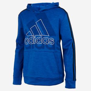 Adidas Big Boys Long Sleeve Logo Hoodie Hooded Pullover Sizes S, M, L Blue