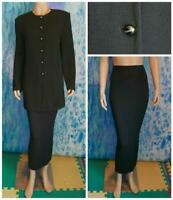 ST. JOHN Collection Knits Black Jacket & Long Skirt XL 16 14 2pc Suit Buttons