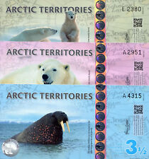 ARCTIC TERRITORIES 3 NOTE SET of Polar Dollars Fun-Fantasy Note 1½ 2½ 3½