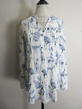 Anthropologie Maeve Fauna White Navy Squirrel Peacock Ostrich Blouse S