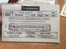 HO BRASS WALTHERS DECAL SET D&RGW PASSENGER CAR NEW OLD STOCK