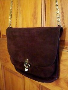 Vintage Purple Suede Ladies Shoulder Bag Purse