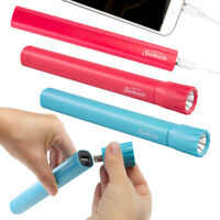 2pk Sunbeam 2-in-1 Power Bank & Rechargeable Flashlight Portable Phone Charger