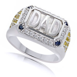 """1.28 Ct White Zircon, Blue & Yellow Sapphire Sterling Silver """"DAD"""" Band Ring"""