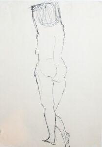 Vintage nude female portrait ink drawing