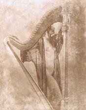 Hendrickson Original Photo Sepia Nude Woman With a Giant Harp 10x13
