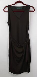 L Ralph Lauren Petite Faux-Wrap Sleeveless Jersey Dress Brown size PM Medium