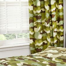 "CAMOUFLAGE 66"" x 54"" LINED CURTAINS NEW ARMY MILITARY BOYS BEDROOM"