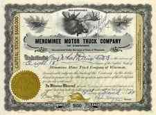 New listing 1929 Menominee Motor Truck Stock Certificate
