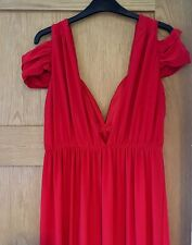 ASOS Red Maxi Dress Size 14 Evening Occasion Cold Shoulder