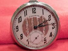 """Vintage Waltham Open Face 1 5/8"""" Silver Pocket Watch Works Well."""
