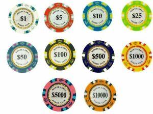 Monte Carlo 14 Gram Poker Chips Sample Set Pack - 10 Denominations NEW