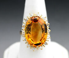 Anillo Citrino-brillante Citrino luminosas Naranja 12,72 quilates 585-rosado oro