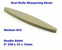 Knife Sharpening Stone Sharpener Medium Grit Whetstoneoval oval Double Sided 9""