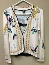 $499 TRICOT CHIC 2 pc Cardigan Cami set rhinestones Made in Italy sz I-42, 4 US