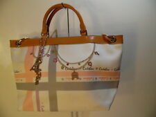 Carlo Rino Classic Imported Beige & Tan PVC Vinyl Satchel Tote Shoulder bag