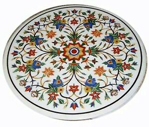 36 Inches Marble Dining Table Top Handmade Pietra Dura Art Office Meeting Table