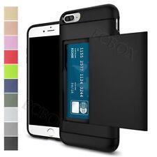 Shockproof Credit Card Pocket Holder Rugged Case Back Cover For iPhone 5 6 7 8 X