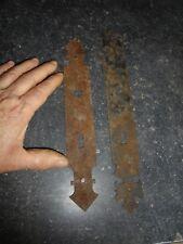 2 Anciennes Plaque de Propreté Porte Meuble Armoire Vitrine Fer forgé Trou à Clé