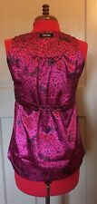 GIO-GOI Quirk silky fuchsia pink animal print leopard sleeveless top UK M BNWOT