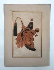 Gravure ancienne à la sanguine, visage d'homme asiatique à la parure, Yacovlev?