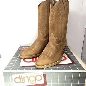 NOS New Vtg Dingo 5962 Men's Classic Suede Western Cowboy Boots Sz 10.5 EW Wide