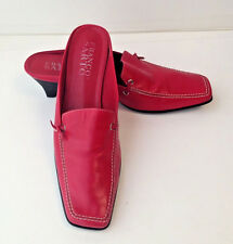 FRANCO SARTO Red Leather Moc Toe Kitten Heel Slip On Shoes Heels Womens 9M