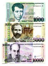 ARMENIA 1000 5000 10000 DRAM 2001-2012 P-50,56b,57 UNC SET OF 3