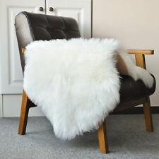 Sheepskin Faux Area Rug, Sofa Cushion, Chair Cover Seat White 2ftx3ft
