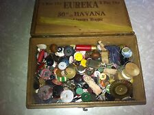 vintage button lot in Eureka Havana wood  cigar box