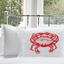 One Red Crab Pillowcase   Nautical Decor   Nautical Pillowcase   Pillow cover