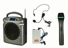 60W PORTABLE PA SYSTEM with Wireless HANDHELD/HEADSET Microphones (USB/SD slots)