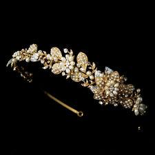 Gold or Silver Ivory Pearl Rhinestone Side Accent Bridal Tiara Wedding Headband