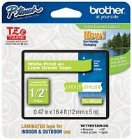 "Genuine Brother P-Touch TZeMQG35 1/2"" White on Lime Green Tape TZMQG35"