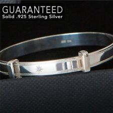 Sterling Silver 925, Real DIAMOND BABY BANGLE Bracelet Adjustable - Gift Box