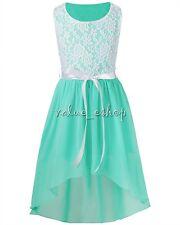 Flower Girl's Dress Lace Princess Pageant Wedding Bridesmaid Graduation SZ 6-14