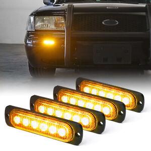 Xprite 4pcs LED Headlight Bulb Side Marker Strobe Light Emergency Yellow / Amber