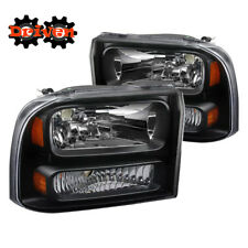 99-04 Ford F250 F350 Super Duty Black Housing 1PC Headlights w/Amber Reflector