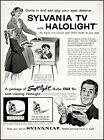 1957 Sylvania TV with Halolight console mom daughter vintage art print ad L81 photo