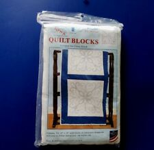 "JDNA 6 Stamped Quilt Blocks to Cross Stitch w Quilting Marks 18"" Square"