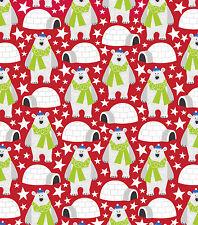 Fabric Polar Bears Igloos on Red Flannel 2 Yards