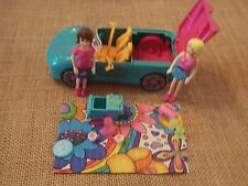 Polly Pocket Pink Teal Turquoise Convertible Car Camping Accessories Lot X78