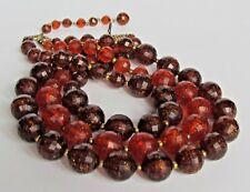 NECKLACE STATEMENT CHUNKY MULTI STRAND BROWN ORANGE GOLD SPECKLED BEADS