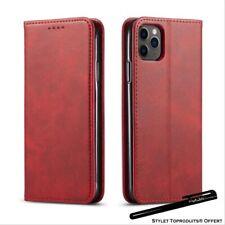 Etui portefeuille Rouge pour iPhone11Pro 11 11ProMax Housse fermeture magnétique