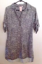 Philosophy Tunic Top Shirt Gray Abstract Camo Print Roll Tab Sleeve Dress Size M